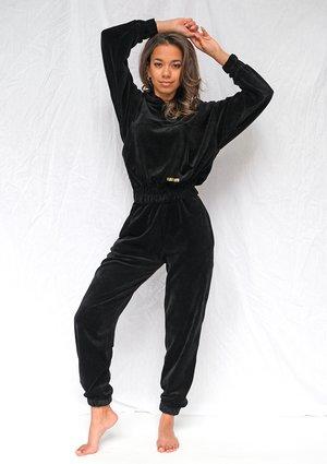 Spodnie welurowe o luźnym kroju Czarne ILM