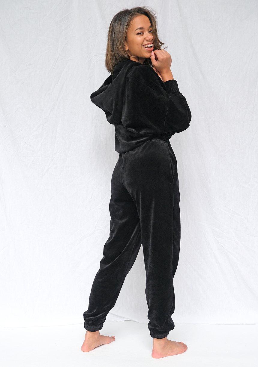 Welurowa bluza o luźnym kroju Czarna ILM