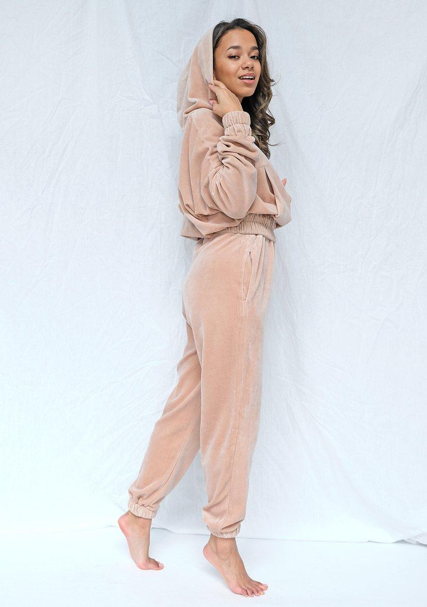 Spodnie welurowe o luźnym kroju warm Taupe ILM