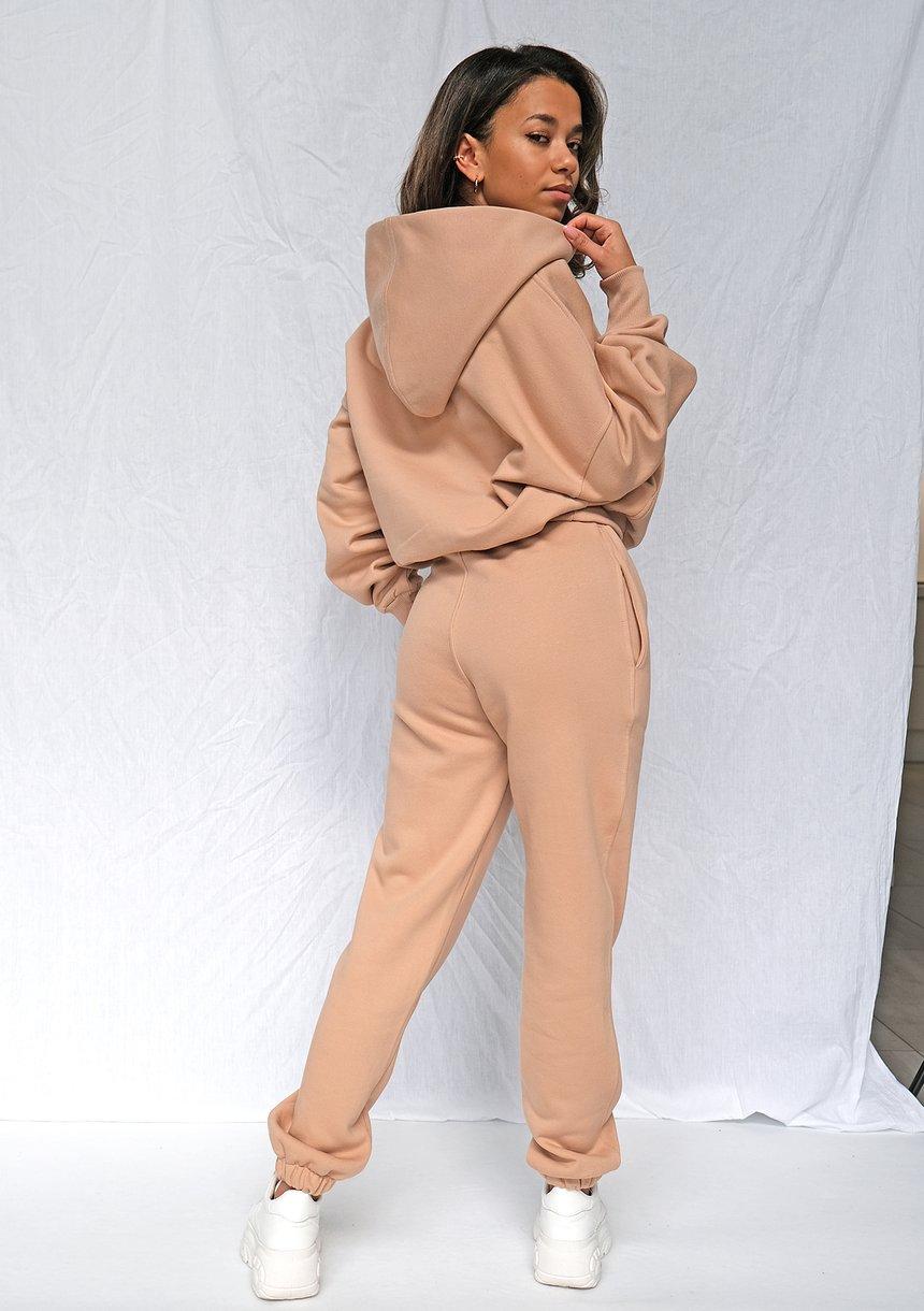 Bluza kangurka o luźnym kroju Taupe ILM