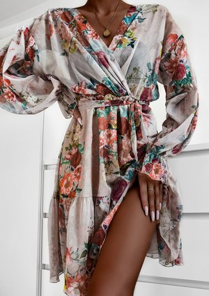 Powder chiffon dress in flowers print