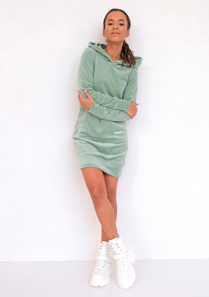 Sukienka z weluru Smoke Mint