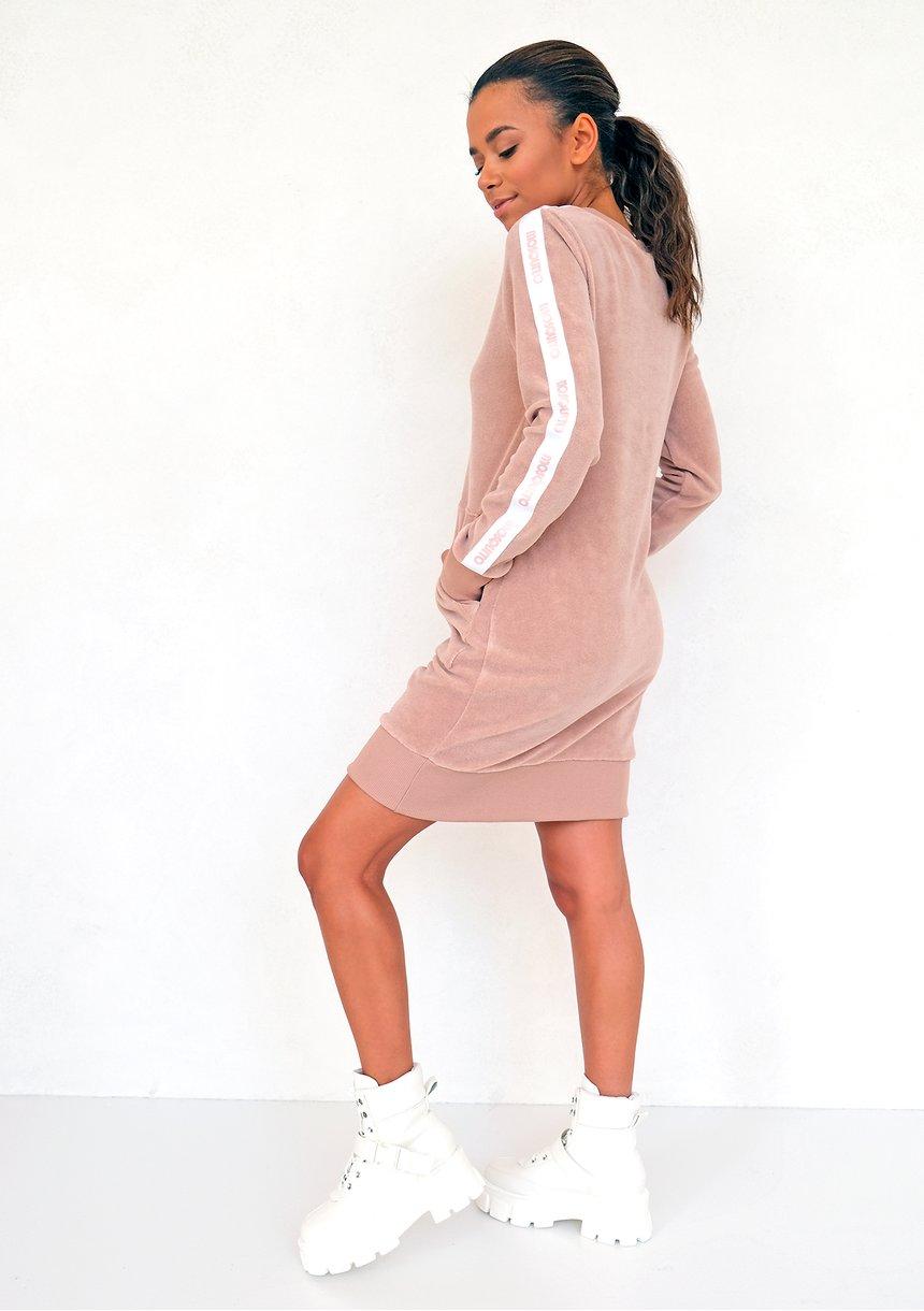 Sukienka frotte z lampasami Beige ILM