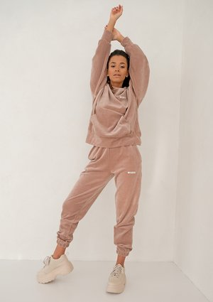 Coffe Beige velvet loose fit sweatpants