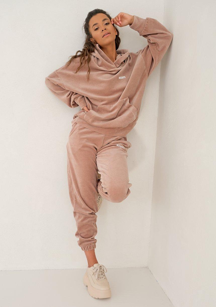 Coffe Beige velvet loose fit sweatpants