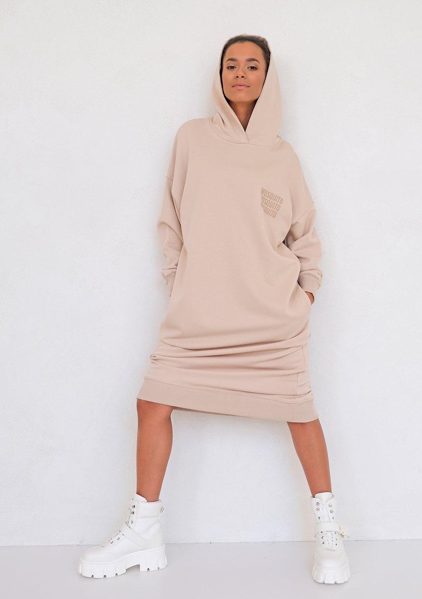 Sporty midi hooded dress Beige