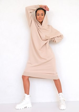 Sporty midi hooded dress Beige