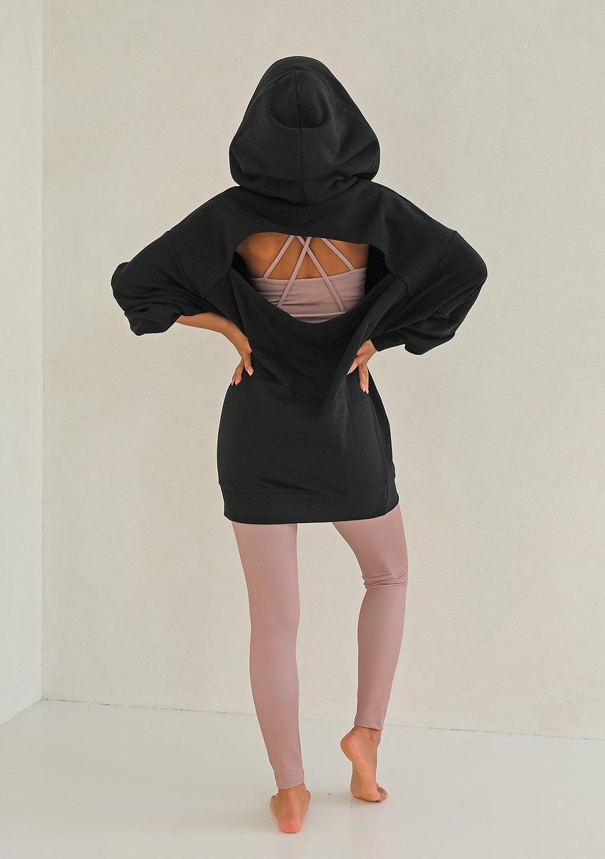 Tunika z pęknięciem na plecach Czarna