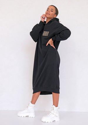 Sukienka midi z Kapturem Czarna