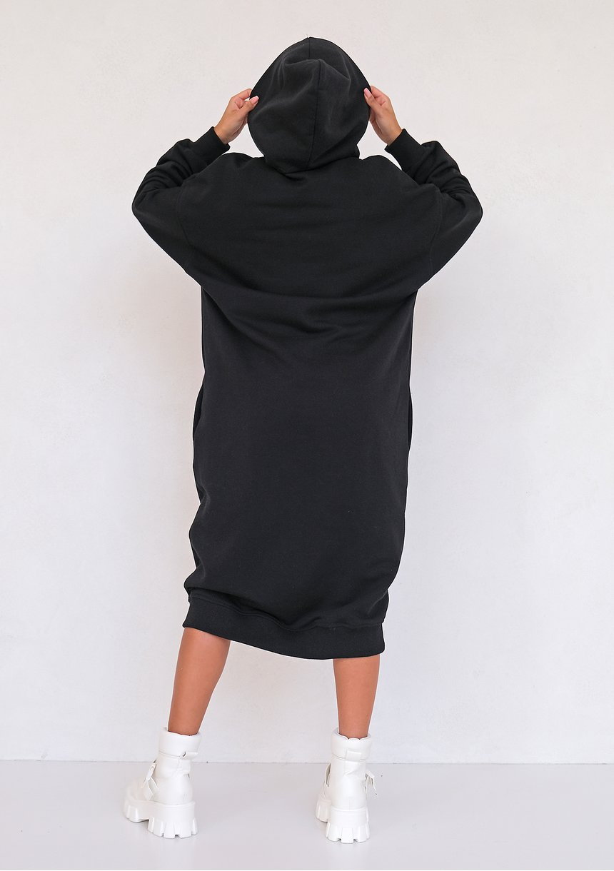Sporty midi hooded dress Black