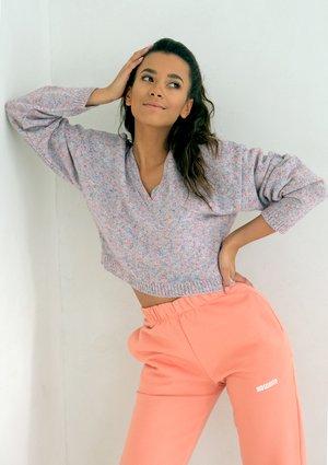 Short Coral Melange cardigan