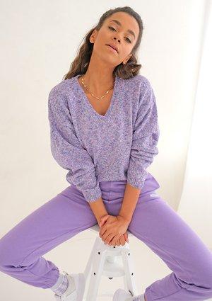 Short lila melange cardigan