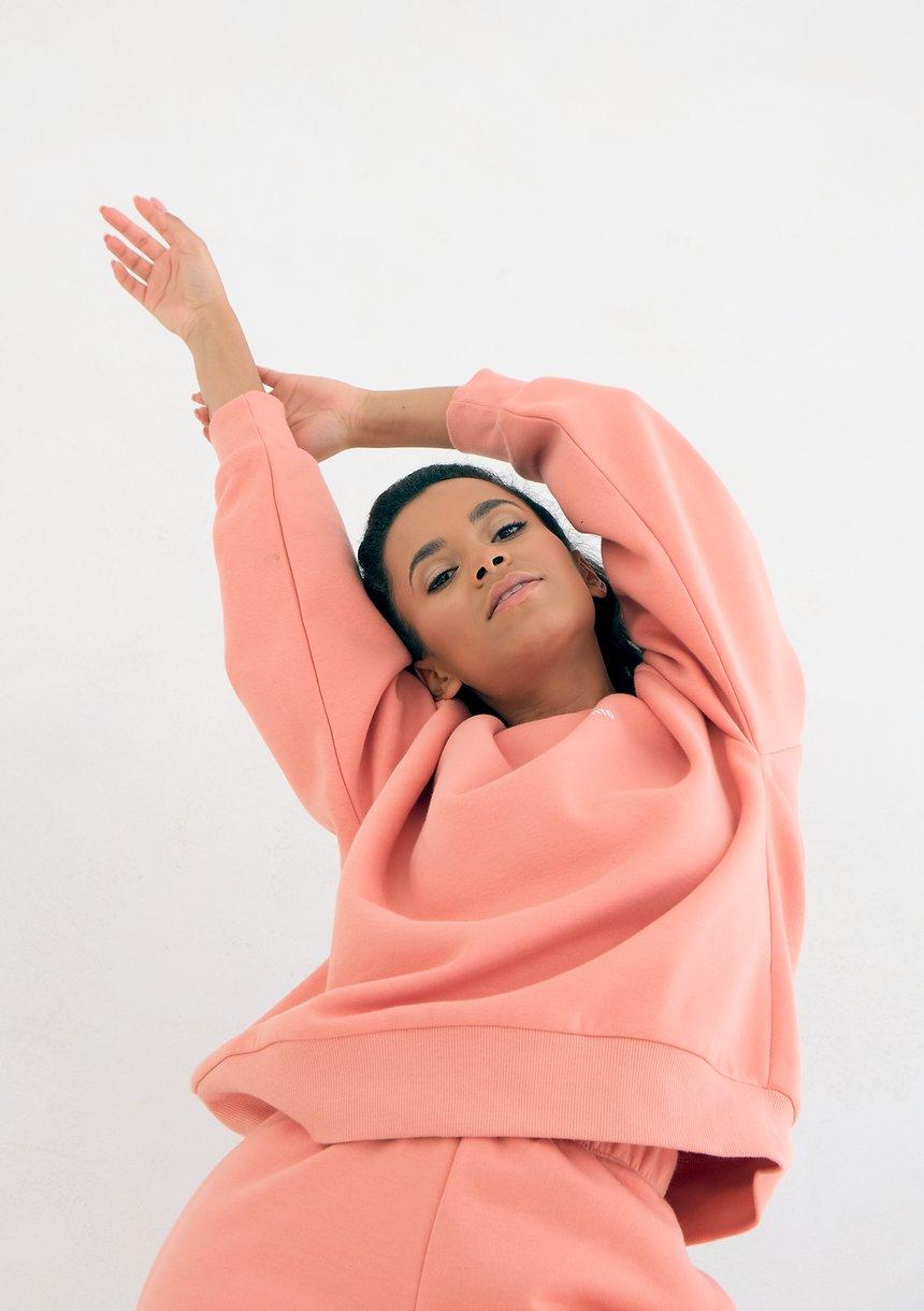 Coral Blush Simple Sweatshirt