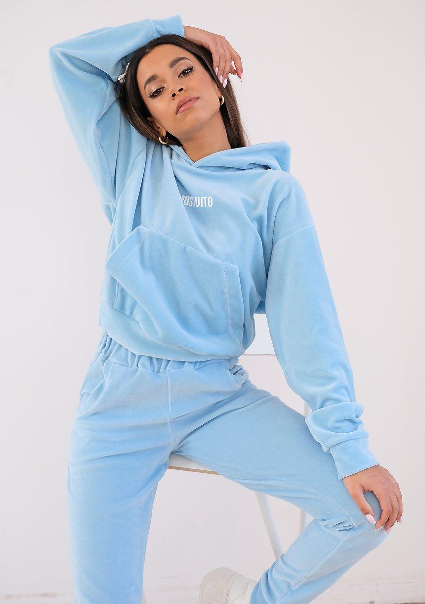 Welurowa bluza z kapturem Błękitna ILM