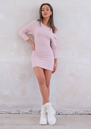 Mini powder ribbed dress