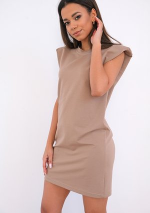 Mini coffe dress with shoulder pads
