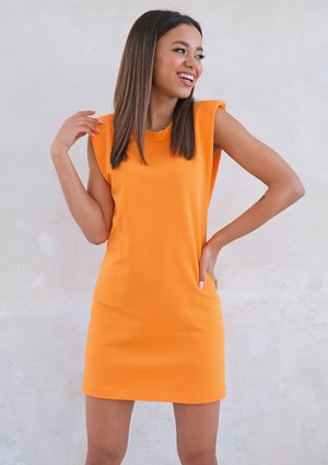 Mini orange dress with shoulder pads