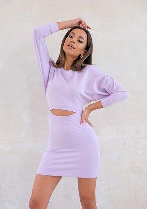 Liliowa sukienka mini z wycięciem