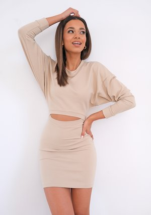Mini beige dress with cutout