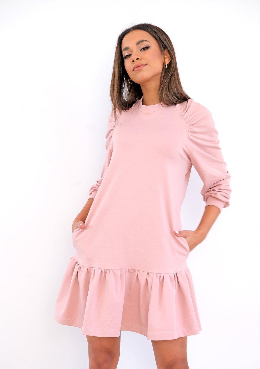Bawełniana sukienka z falbanką Pudrowa