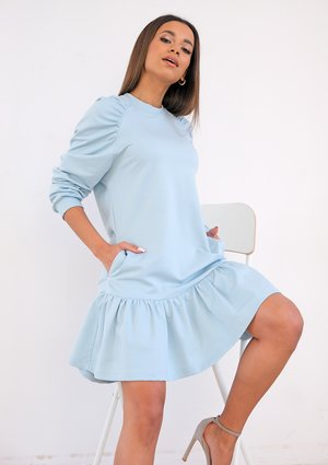 Frilled blue cotton dress