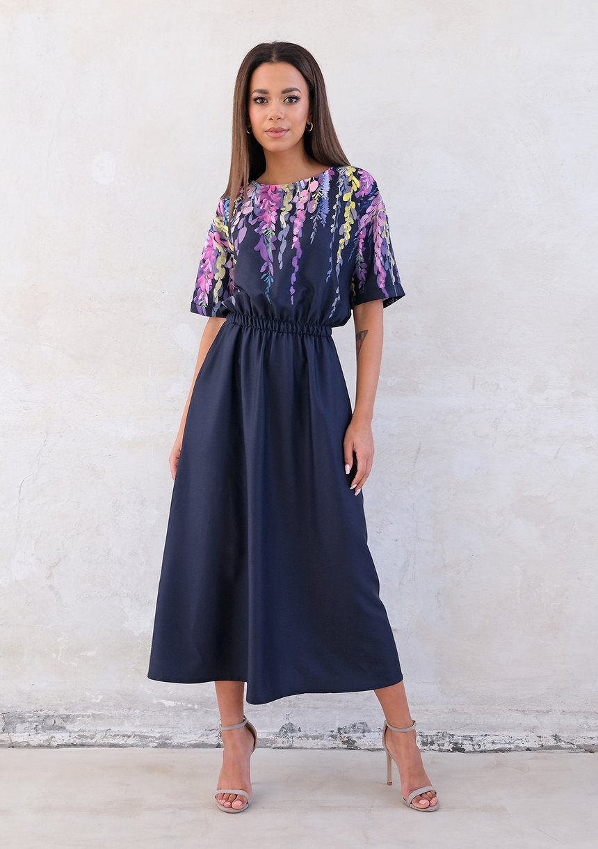 Navy midi dress with floral top
