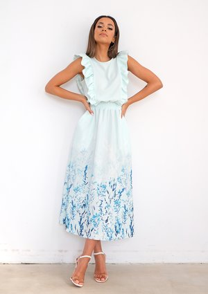 Midi minty dress with floral bottom