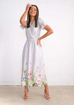 Szara kopertowa sukienka midi