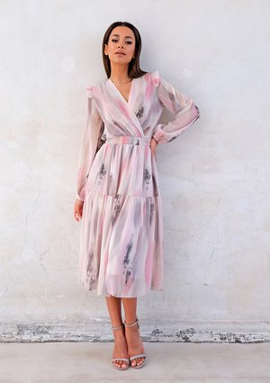 Midi chiffon dress with pink and grey print