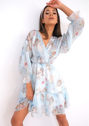Blue chiffon dress angelic print