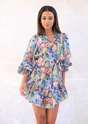 Mini flowers print dress with frills and tape