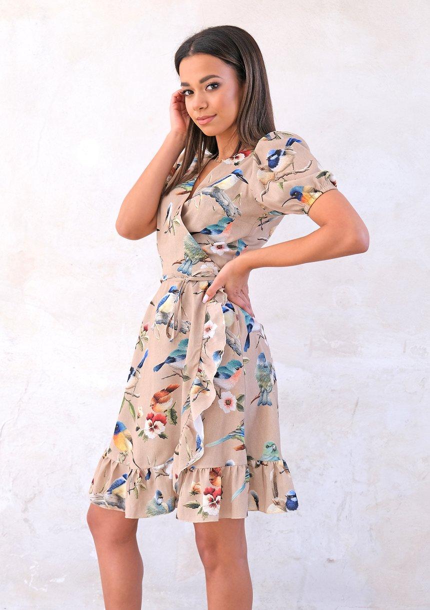 Kopertowa sukienka Birds