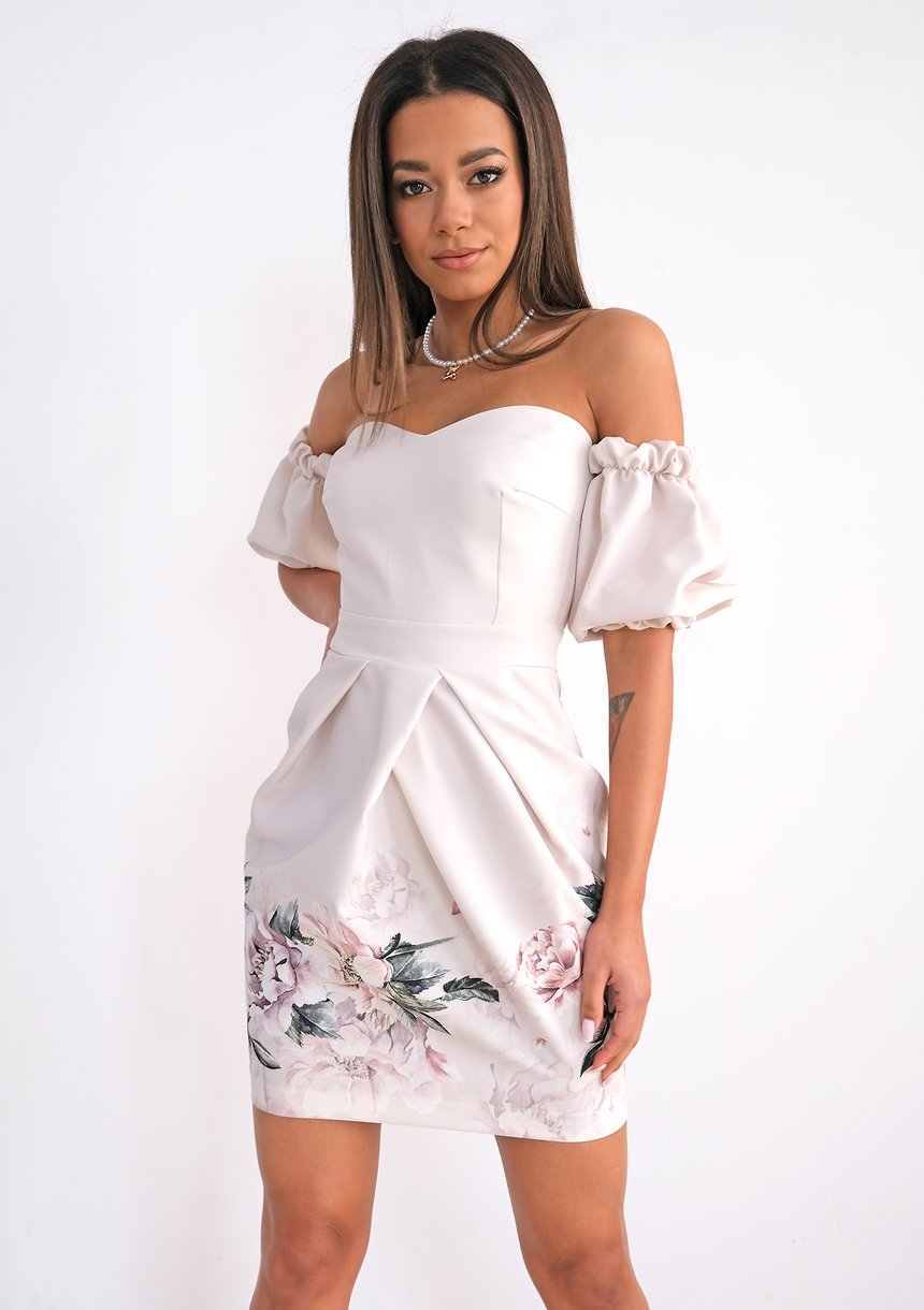 Off the shoulder mini dress with flower bottom