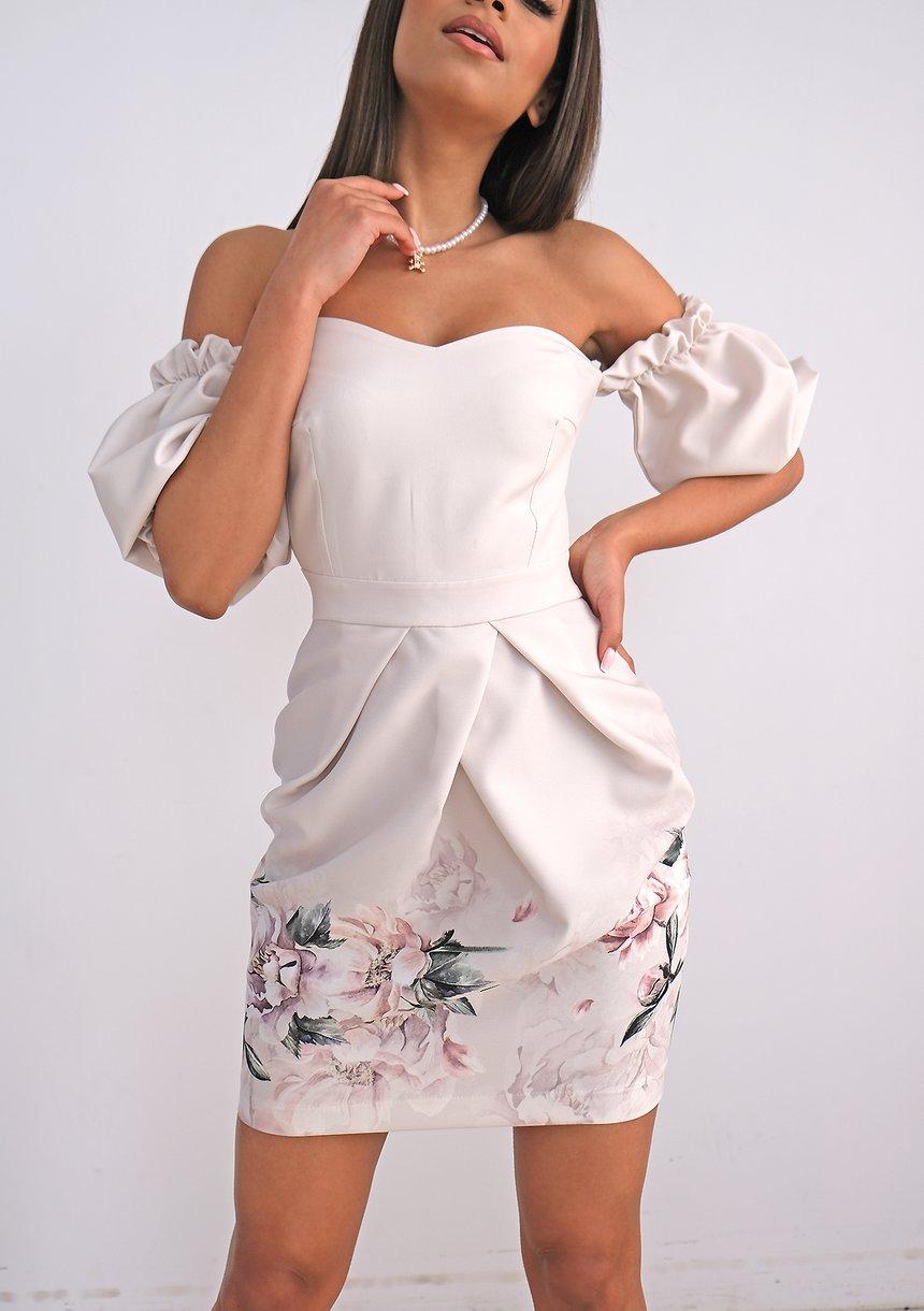 Gorsetowa sukienka z borderem Nude