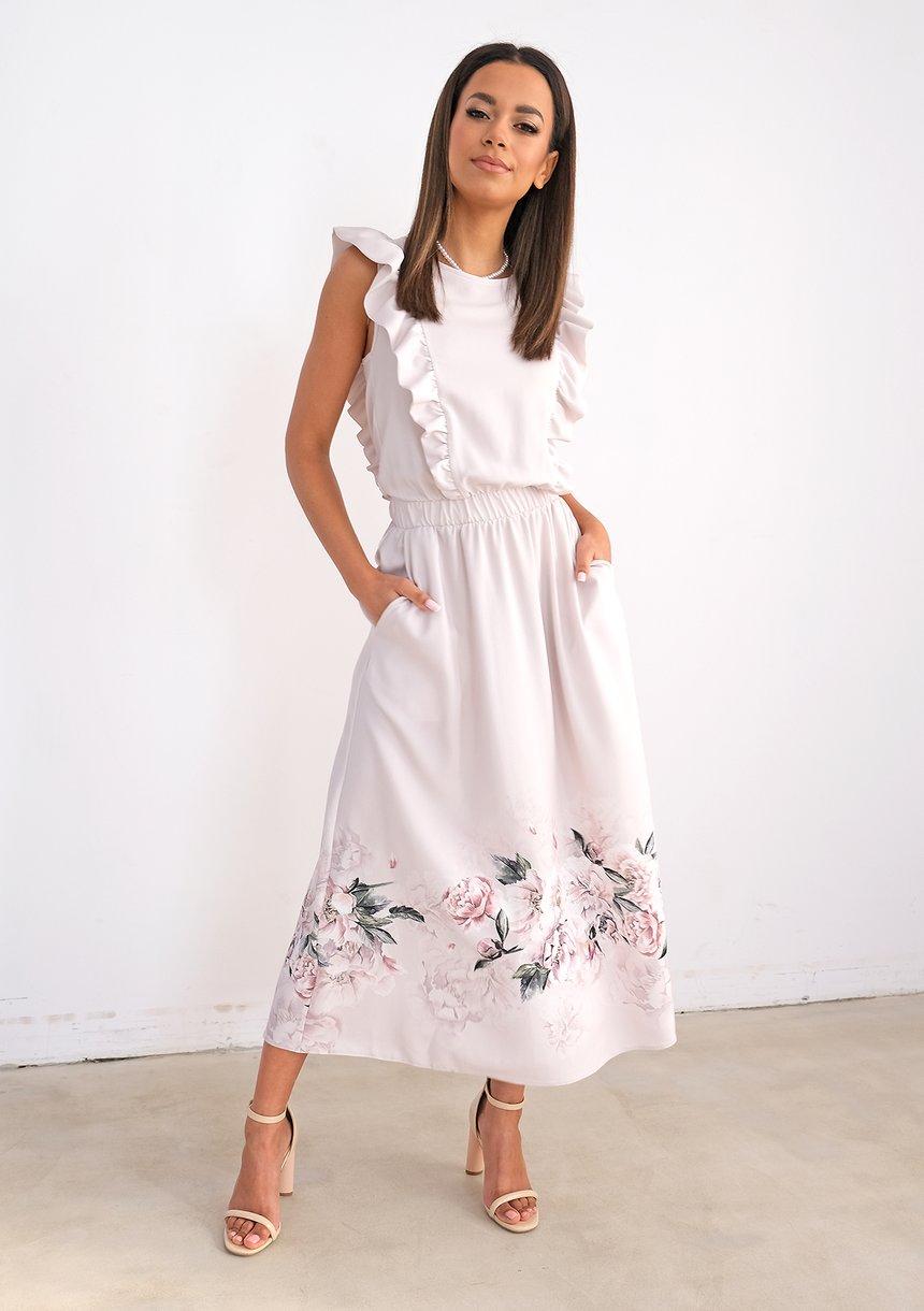 Sukienka midi z kwiatowym borderem Nude