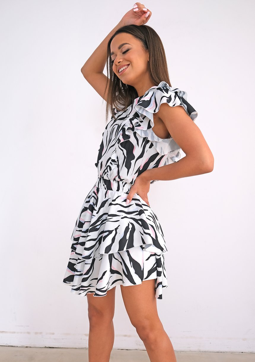 Mini dress with wild print and frills