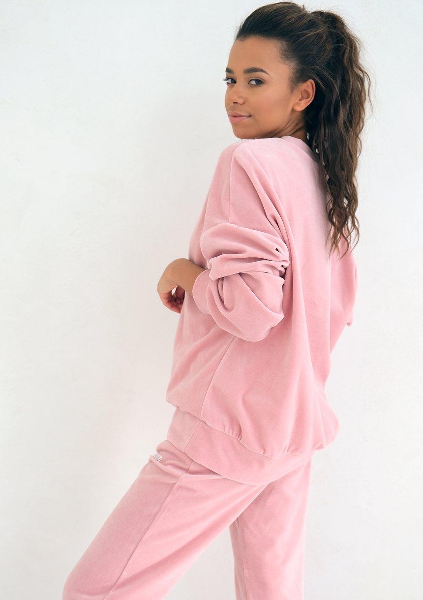 Mellow Rose velvet simple sweatshirt