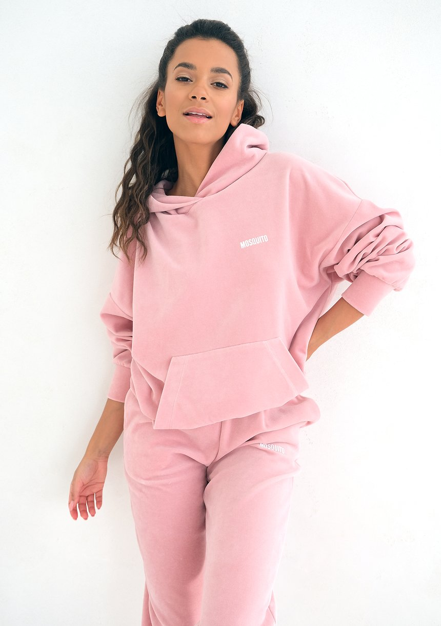 Mellow Rose velvet hoodie sweatshirt