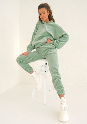 Smoke Mint velvet loose fit sweatpants
