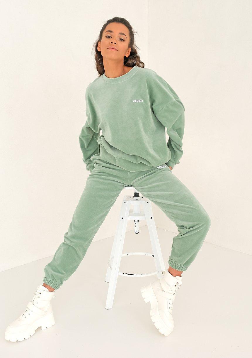 Smoke Mint velvet loose fit sweatpants