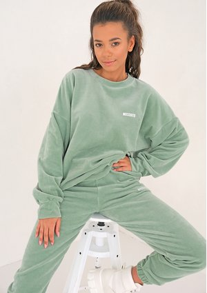 Smoke Mint velvet simple sweatshirt