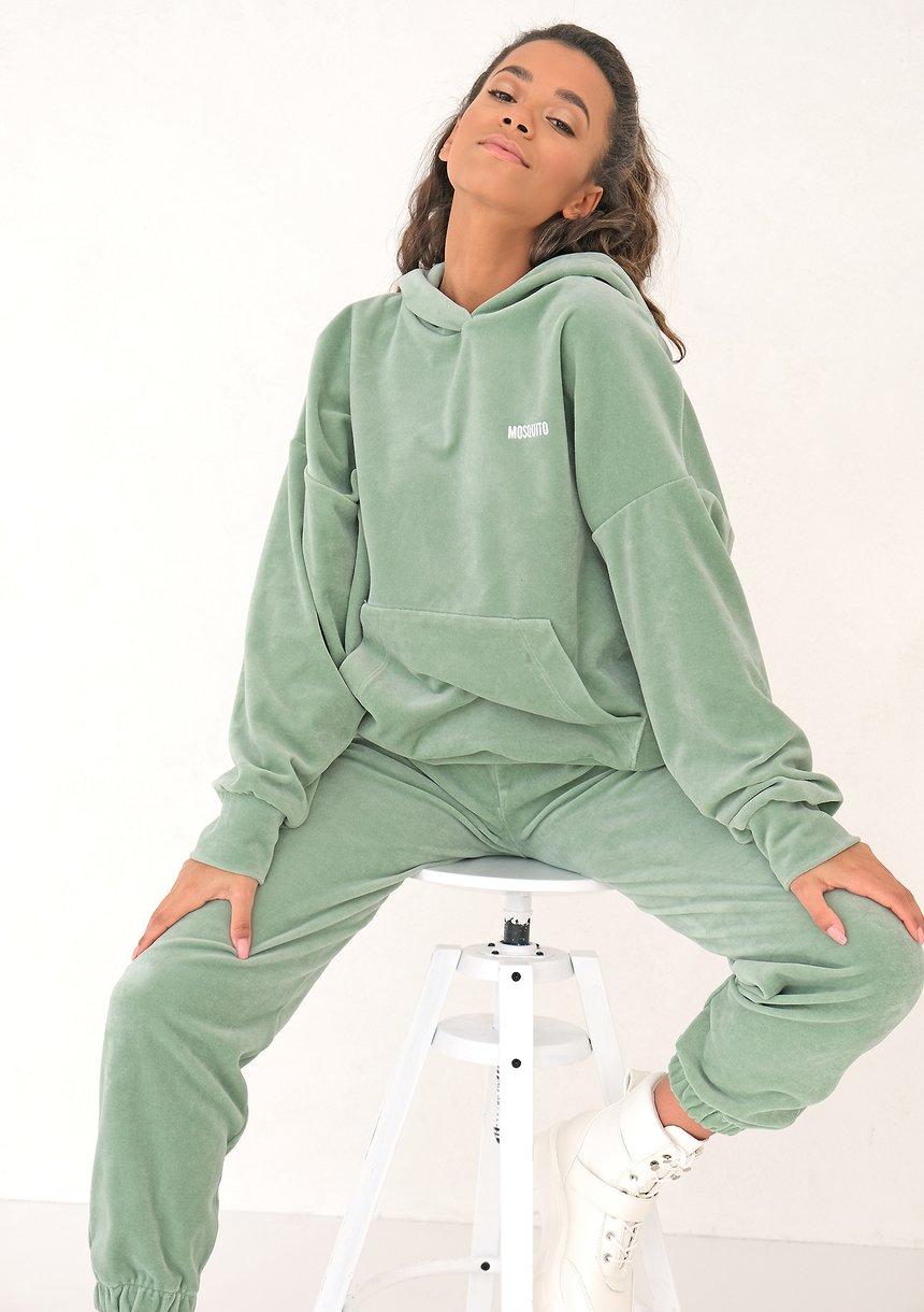 Welurowa bluza z kapturem Smoke Mint ILM