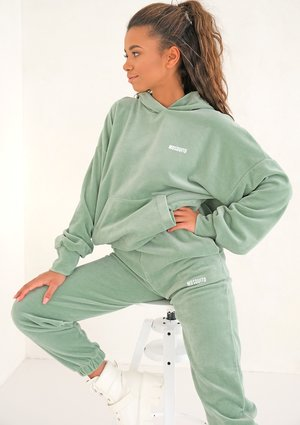 Smoke Mint velvet loose fit hoodie sweatshirt