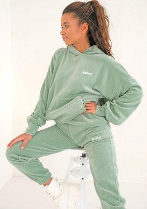 Smoke Mint velvet hoodie sweatshirt