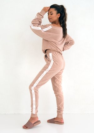 loose fit terry cloth sweatpants beige