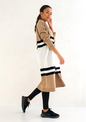 Long striped cardigan beige