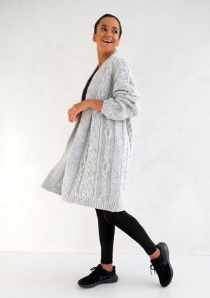 Long Grey Cardigan Plait