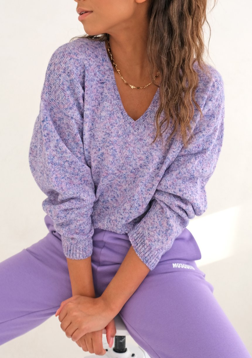 Krótki sweter dekolt V LILa ILM A