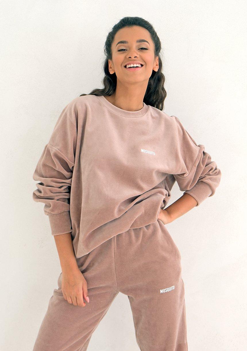 Coffe Beige velvet hoodie sweatshirt