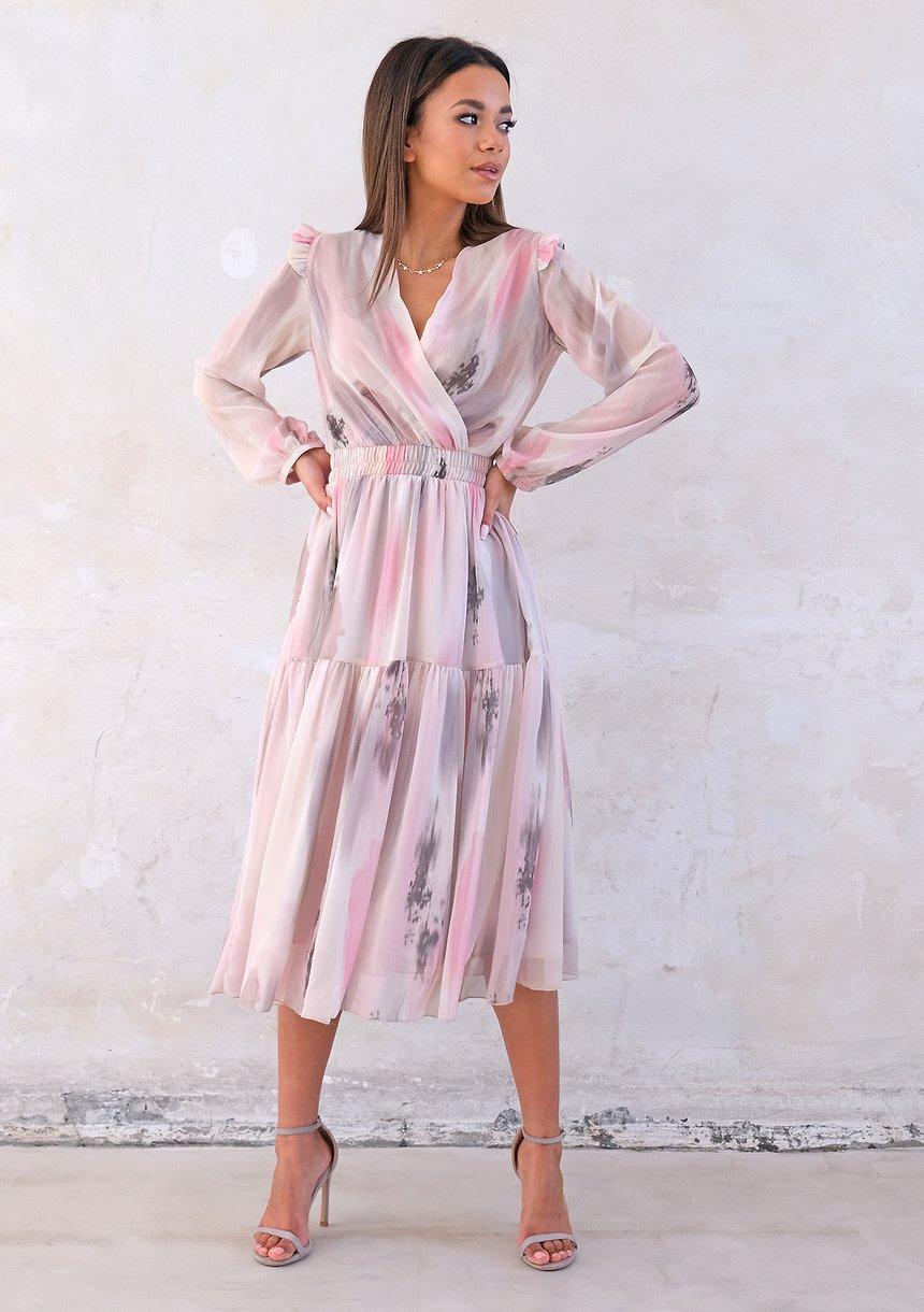 Kopertowa sukienka midi z szyfonu